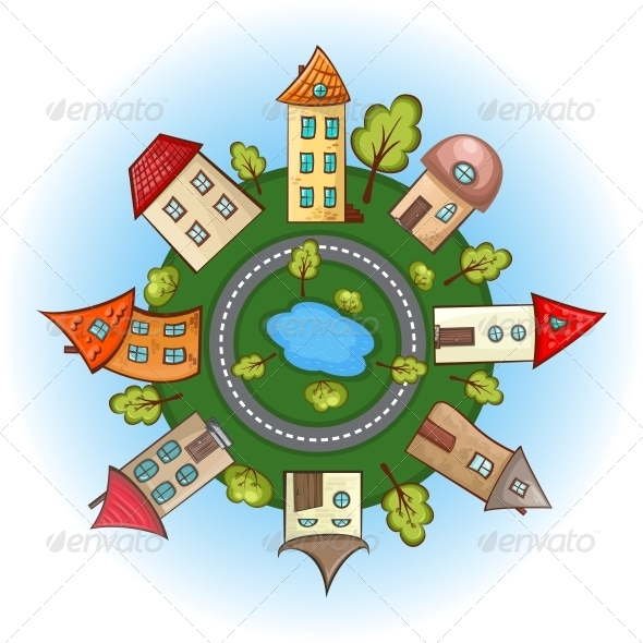 GraphicRiver Houses in a Circle 5498748