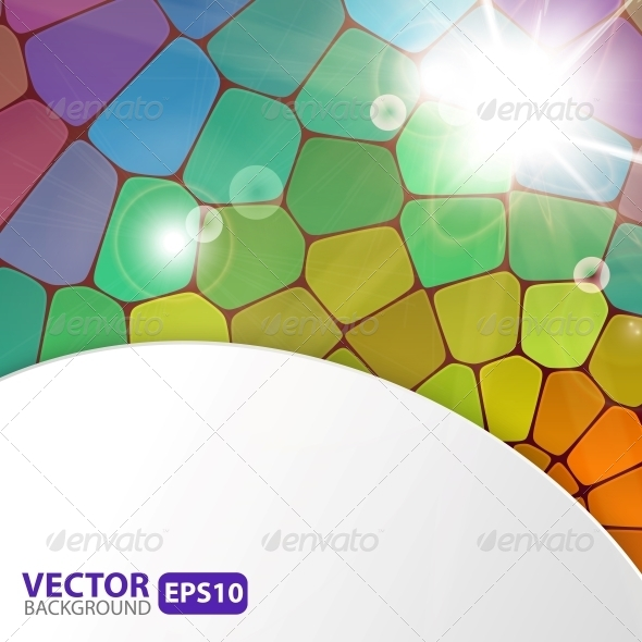 GraphicRiver Colorful Mosaic Background with Sunburst Flare 5499333
