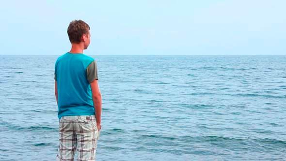VideoHive Boy Watching at Sea 5499385