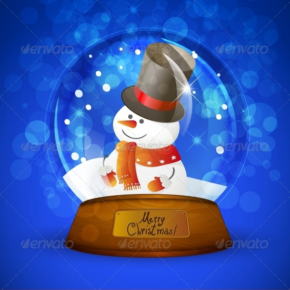 GraphicRiver Christmas Snow Globe with Snowman 5499820