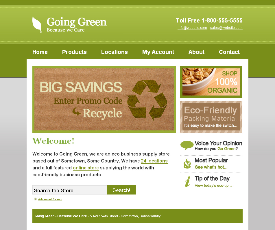 Going Green - Eco Business - This is the home page for my Going Green HTML template. As you can see, there is a large area to display promos or site information along with two sub-areas in the right column.