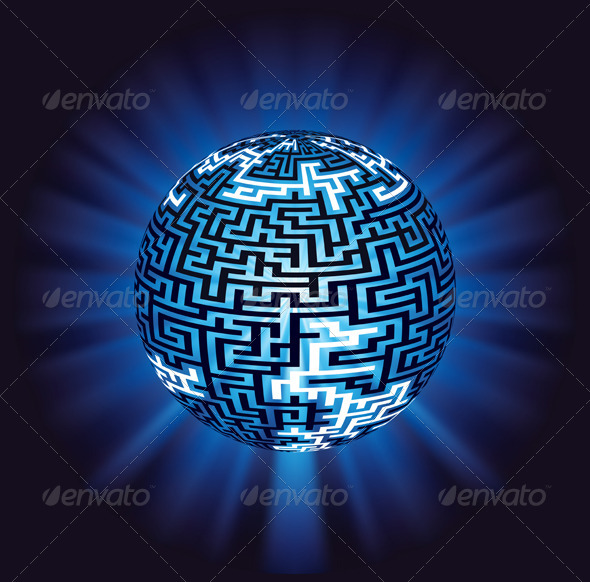 GraphicRiver Globe Labyrinth Maze with Illumination 5501018
