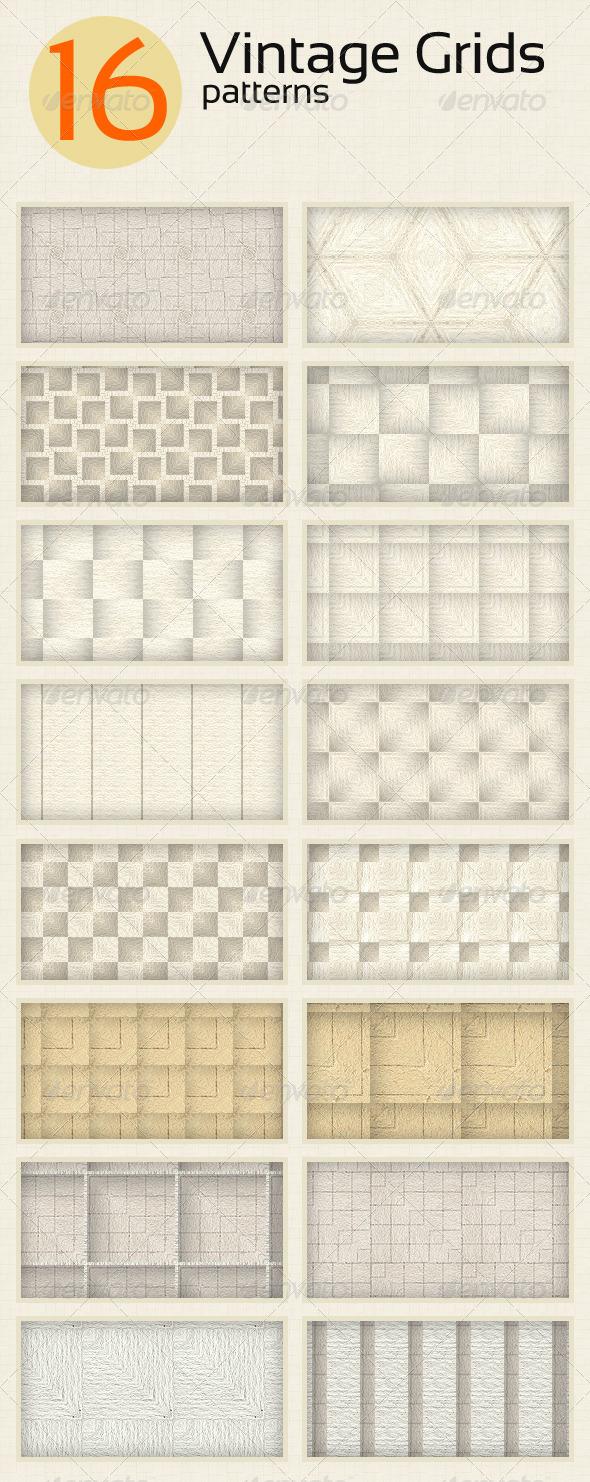 GraphicRiver 16 Vintage Grids Patterns 5501054