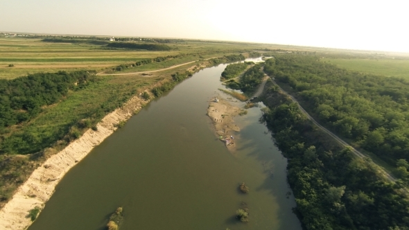 VideoHive Flying Over River 6 5501314