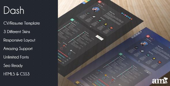 ThemeForest Dash Modern Resume vCard HTML Template 5501353