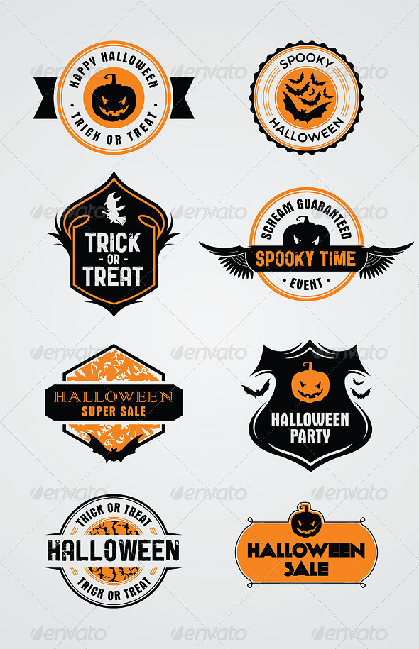 GraphicRiver 8 Halloween Stamps and Badges 5501653