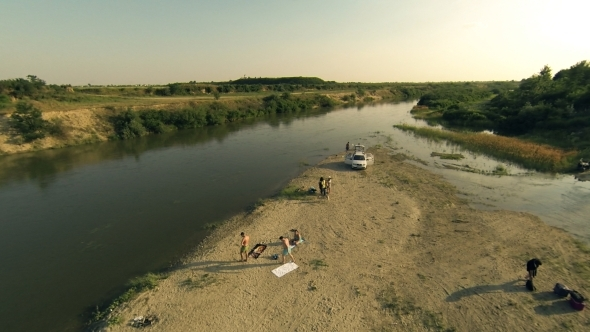 VideoHive Flying Over River and People 5502006
