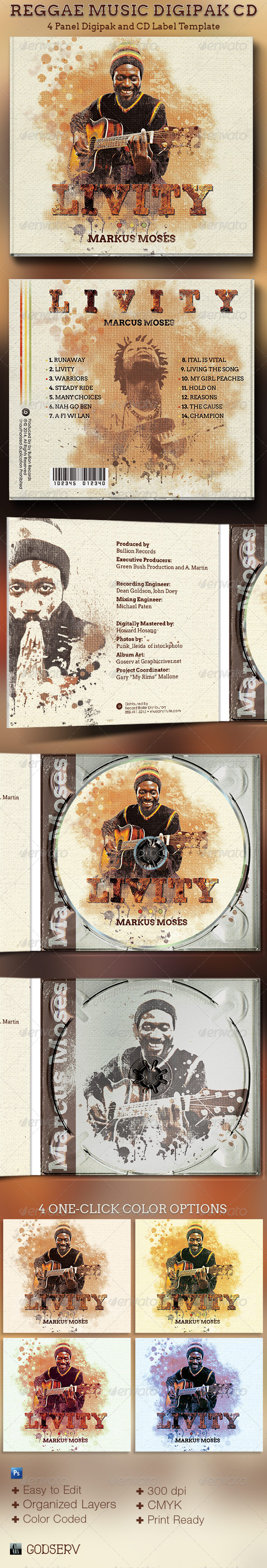 Reggae Music 4 Panel Digipak CD Artwork Template - CD & DVD artwork Print Templates