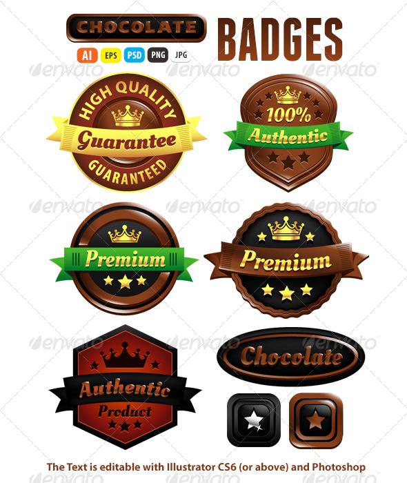GraphicRiver Chocolate Premium Authentic Badges 5502209