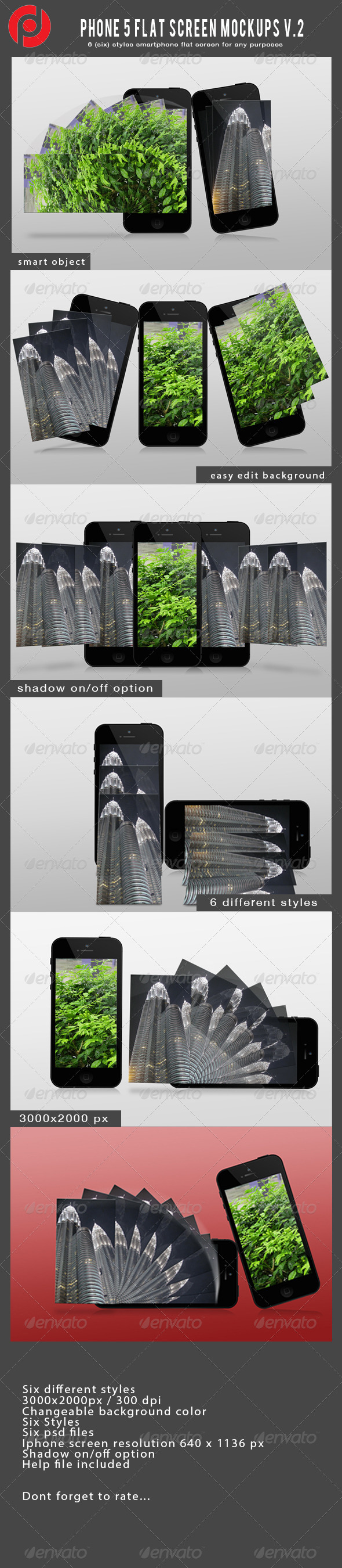 Phone 5 flat screen mockups