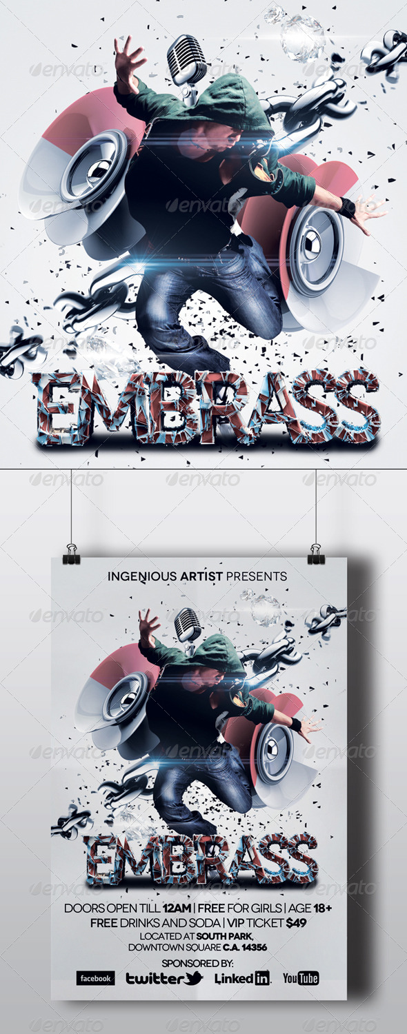 GraphicRiver Embrass Dubstep Party Flyer 5502532
