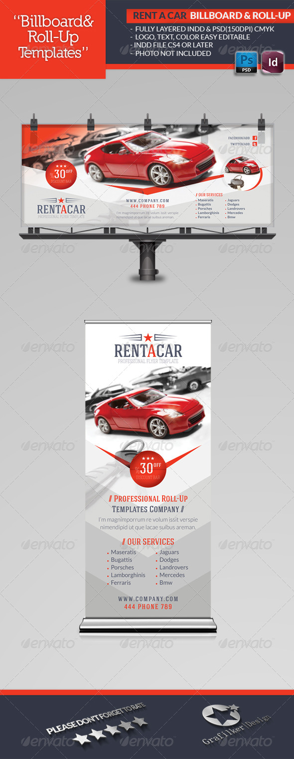 Rent A Car Billboard & Roll-Up Template - Signage Print Templates