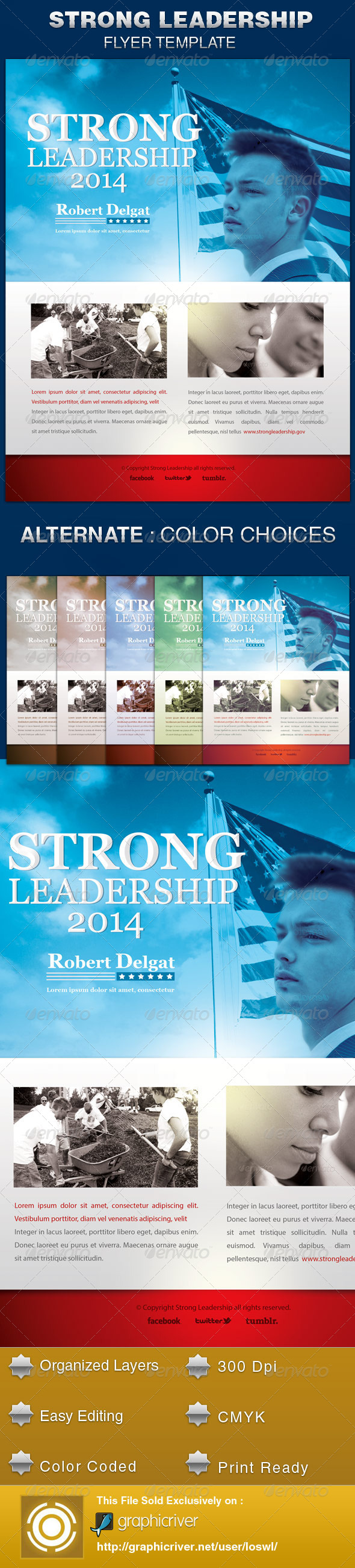 GraphicRiver Strong Leadership Political Flyer Template 5484230