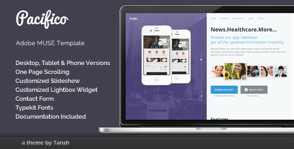 Pacifico One Page Muse Template - Landing Muse Templates