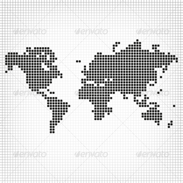 GraphicRiver Abstract Square Shape Formed World Map 5502614
