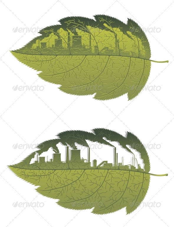 GraphicRiver Green Leaf with Factory Building 5503272