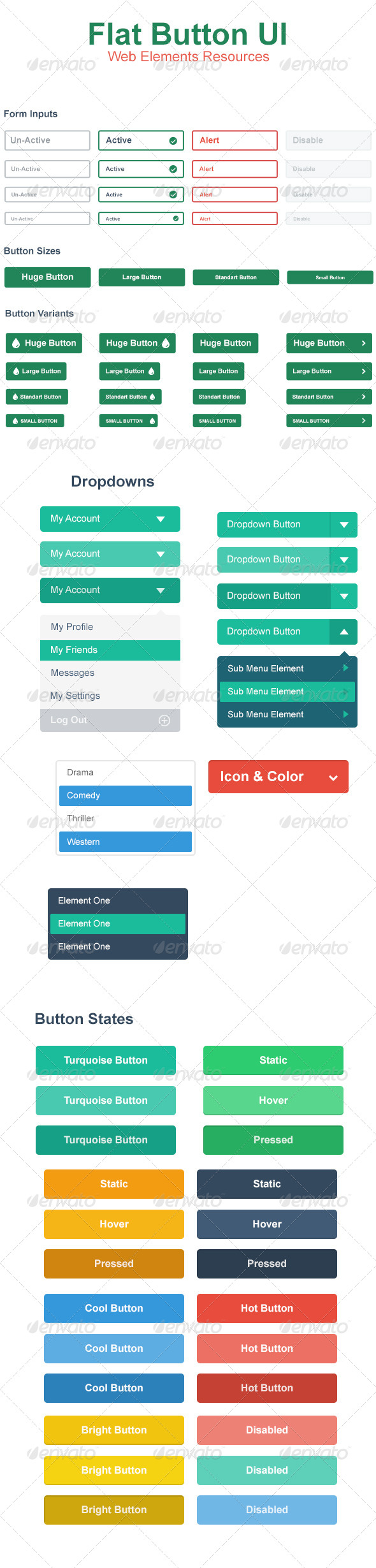 Flat Web Button UI - Buttons Web Elements