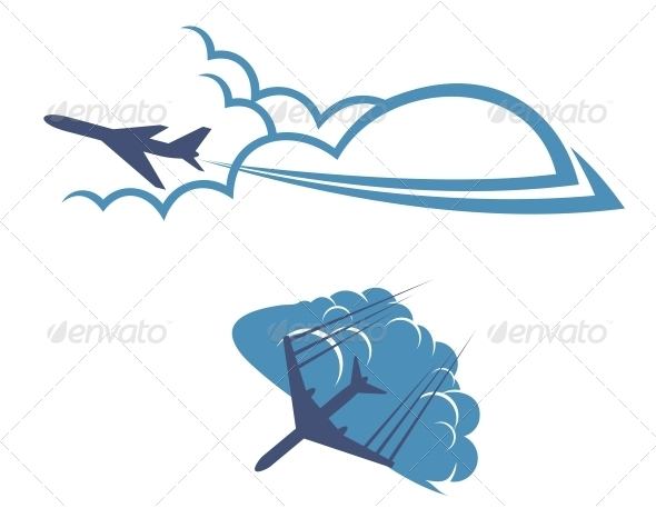 GraphicRiver Airplanes in Sky 5503323