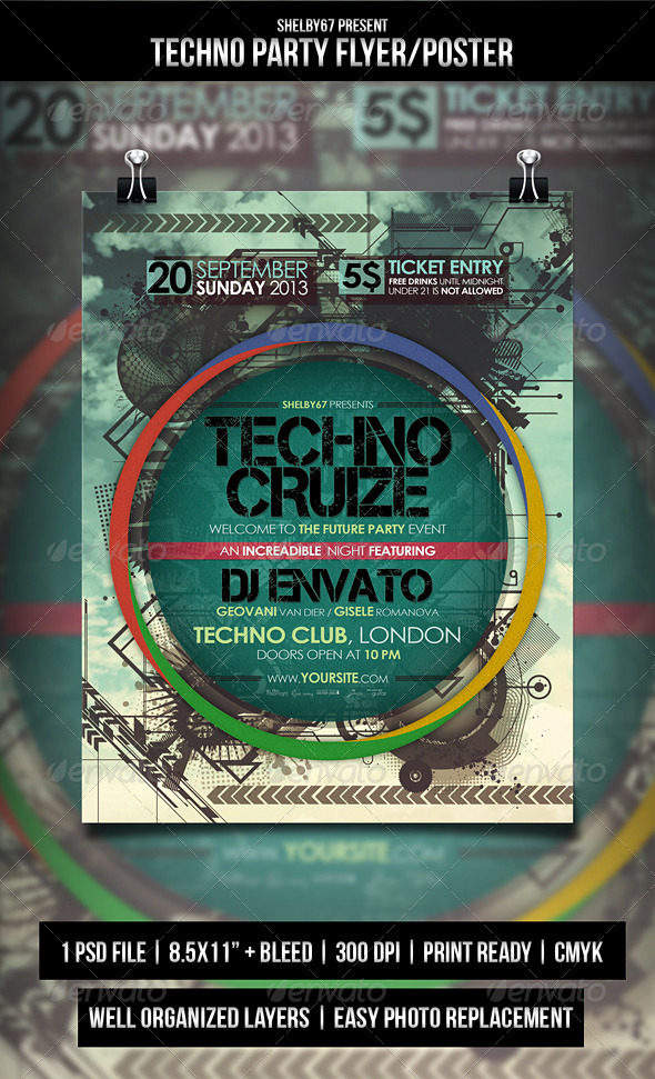 GraphicRiver Techno Party Flyer Poster 5386206