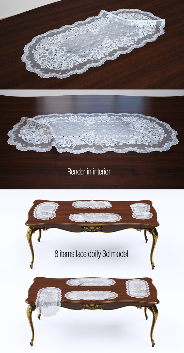 3d model lace doily. 8 items - 3DOcean Item for Sale