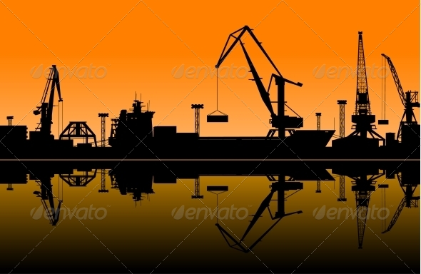 GraphicRiver Working Cranes in Sea Port 5503791
