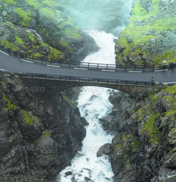 Stigfoss waterfall - Stock Photo - Images