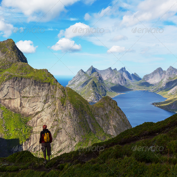 Hike in Lofoten - Stock Photo - Images