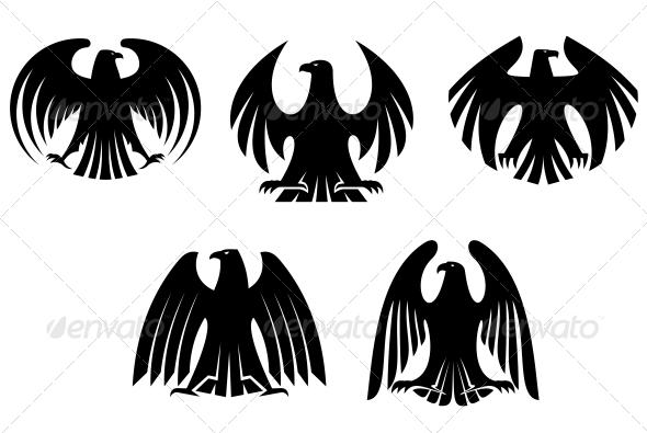 GraphicRiver Black Heraldic Eagles 5503979
