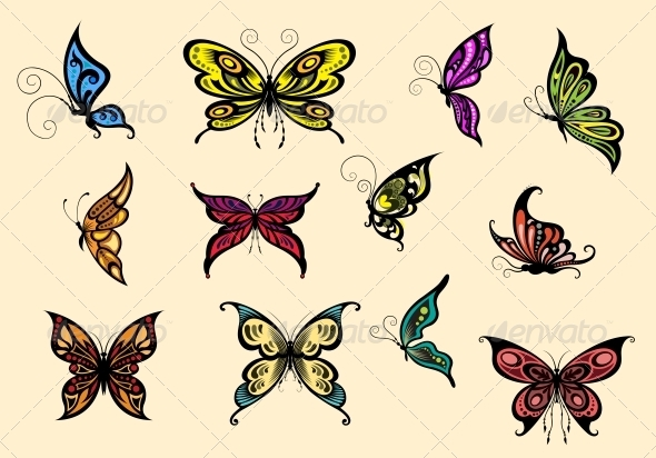 GraphicRiver Set of Colorful Butterflyes 5504343