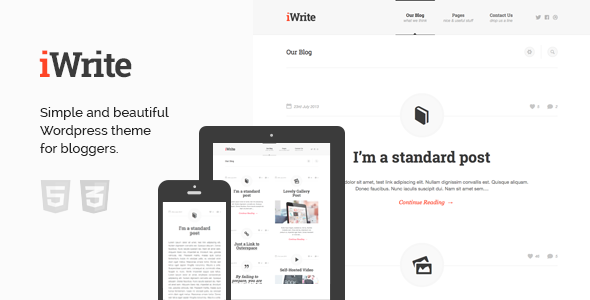 ThemeForest iWrite Minimal Responsive Blogging Theme 5505400
