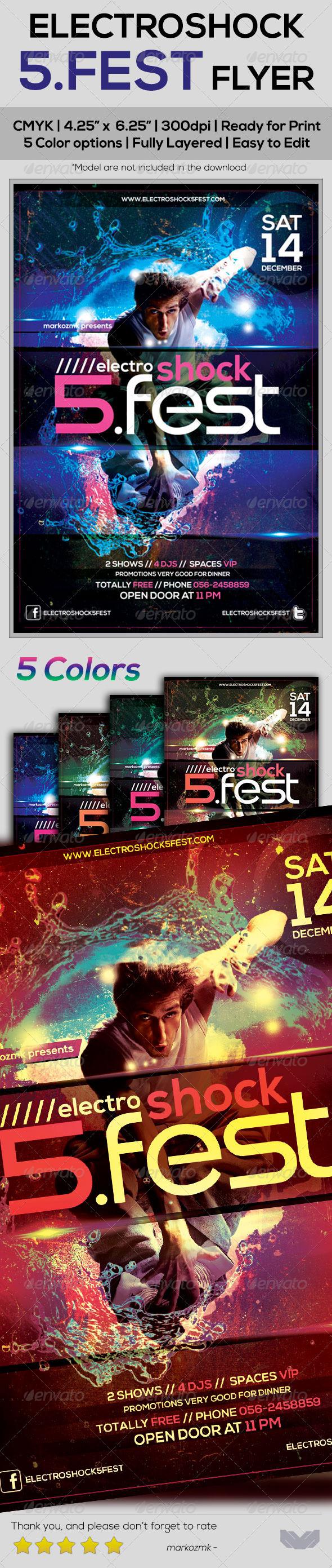 GraphicRiver Electroshock 5Fest Flyer Template 5487669