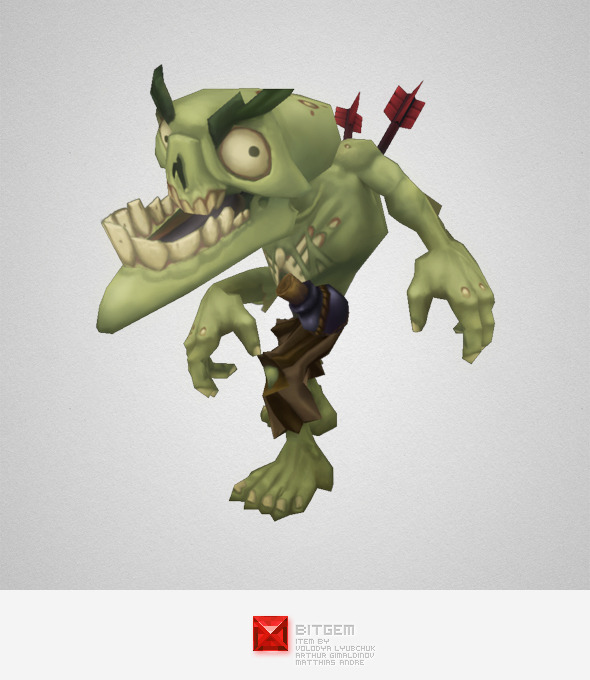 Low Poly Zombie Snapper - 3DOcean Item for Sale