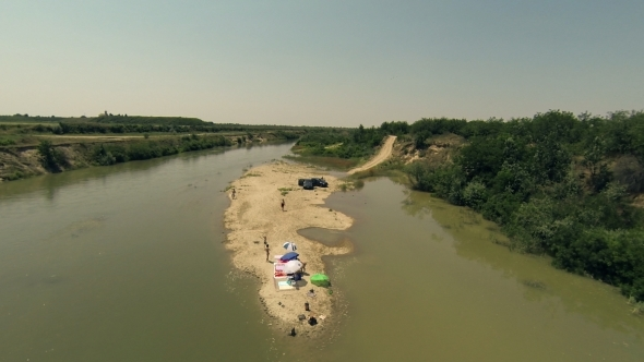 VideoHive Flying Over River Island 5506480