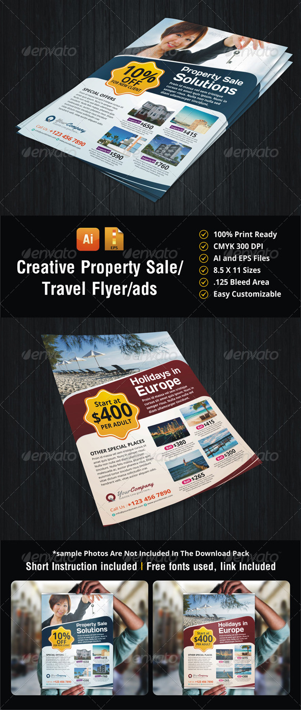 GraphicRiver Travel & Property Sale Flyer 5506874