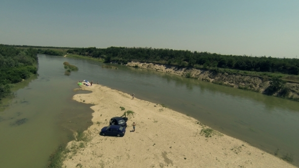 VideoHive Flying Over River Island 2 5506910