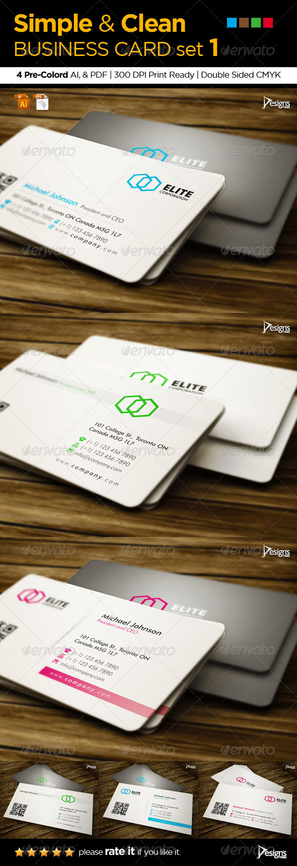 3in1 Simple and Clean Business Card set 1 - Corporate Business Cards
