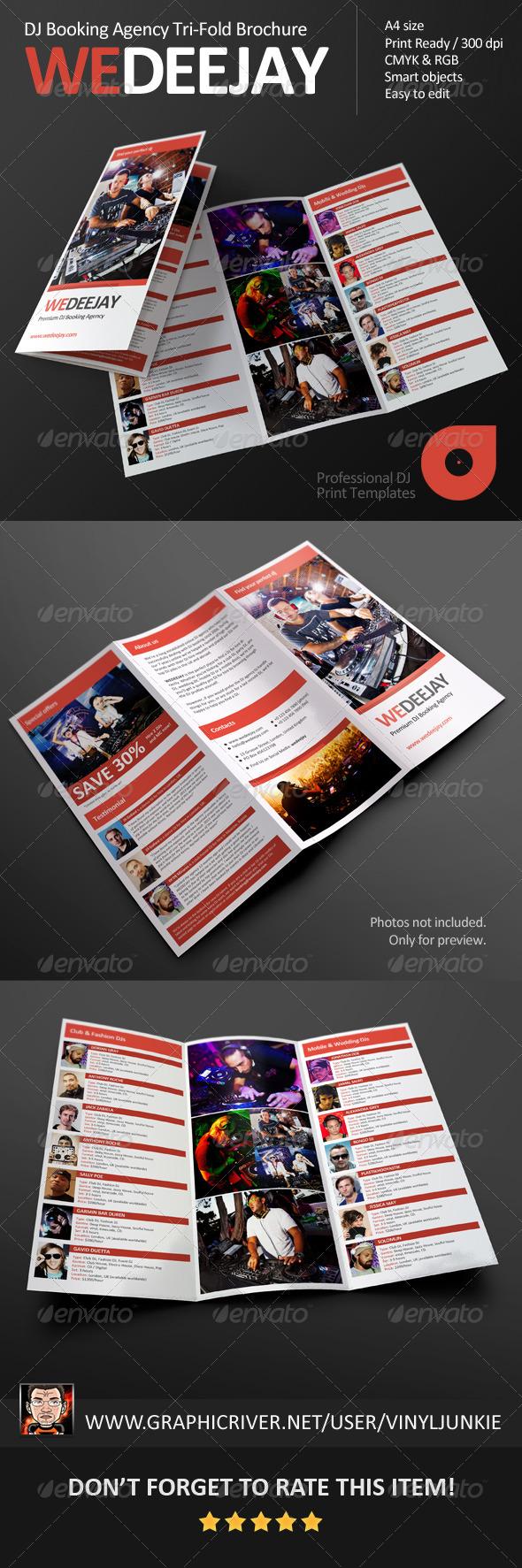 GraphicRiver WeDeeJay DJ Booking Agency Tri-Fold Brochure 5507163