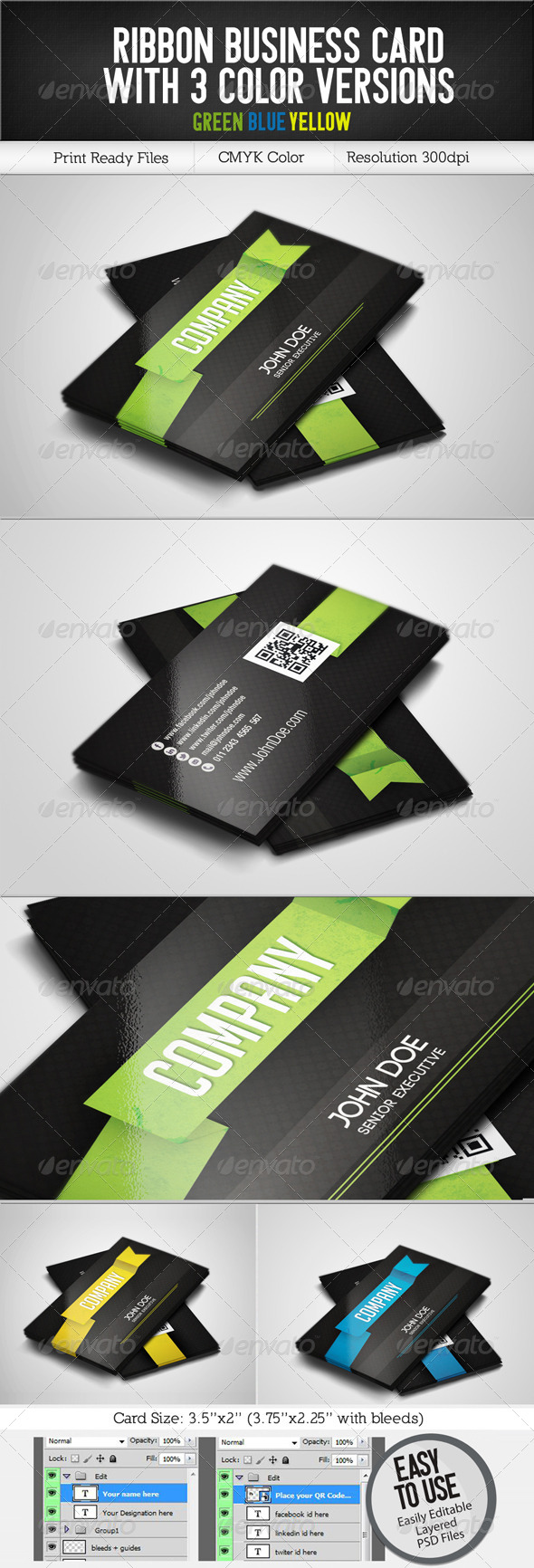GraphicRiver Ribbon Business Card 3 color versions 5478720