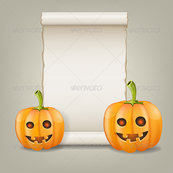 GraphicRiver Pumpkin and Scrolled Paper 5507214
