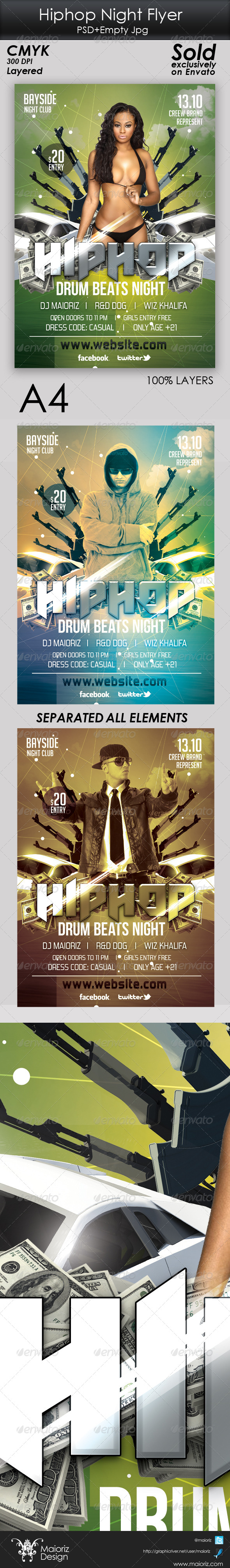 Hiphop Night Flyer Template - Clubs & Parties Events