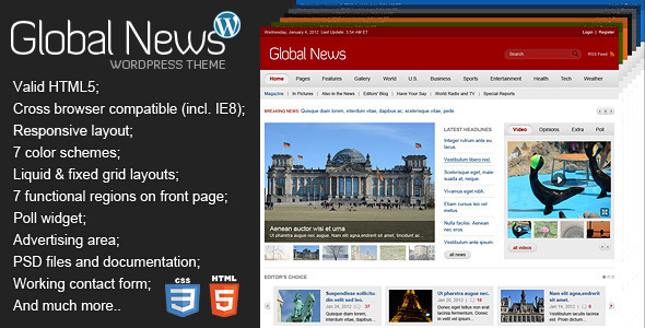 ThemeForest Global News Portal Responsive WordPress Theme 3078995