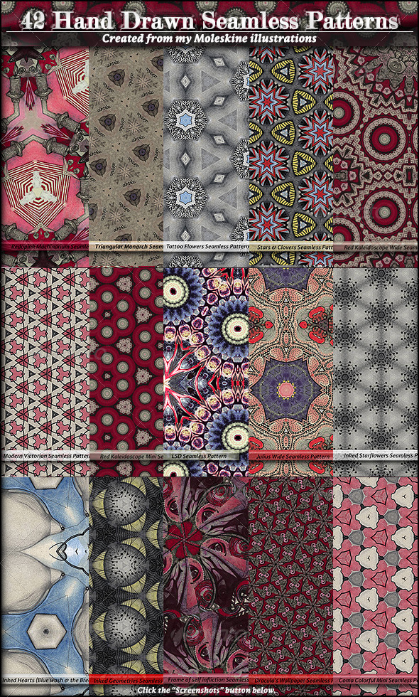 GraphicRiver 42 Hand Drawn Seamless Patterns 5507500