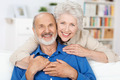 Affectionate elderly couple