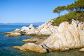 Rocky coastline and a beautiful clear water at Halkidiki Kassand