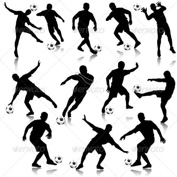 GraphicRiver Soccer Man Silhouette Set 5510835
