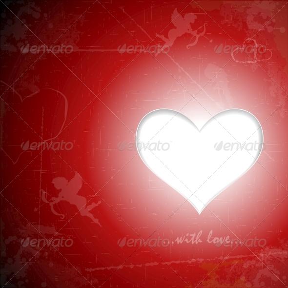 Happy Valentine s Day Paper Heart on Grunge