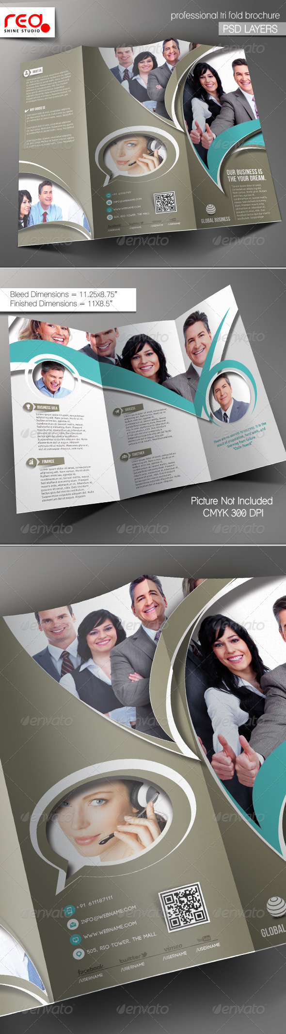 GraphicRiver Global Business Trifold Brochure Template 02 5459075