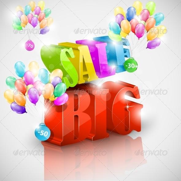 GraphicRiver Big 3D Sale with Colorful Bubbles 5511229