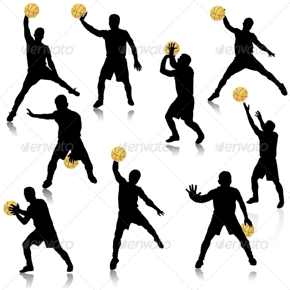 GraphicRiver Basketball Man in Action Silhouette Set 5511537