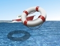 Rescue Boat and Life Buoy at Sea